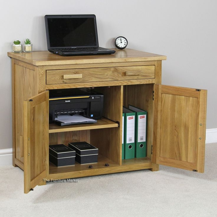 Small Oak Hideaway Computer Desk