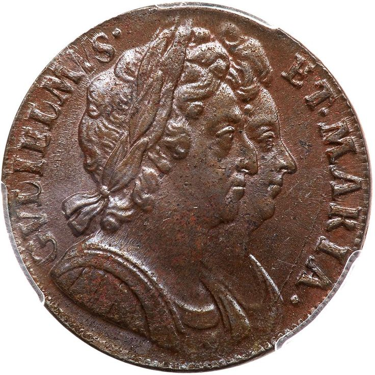Great Britain. Halfpenny, 1694 PCGS MS63 BR S.3452; KM-475.3. William and Mary. Obverse; Conjoined busts of William and Mary as joint monarchs. GVLIELMVS ET MARIA. Reverse; Britannia seated BRITAN NIA around and date in exergue below. The William and Mary currency Halfpenny is usually a badly made coin, but this specimen is mint state with well struck portraits. A hint of mint red and a glossy original sheen. A coin which is not difficult to obtain in low grades, but is practically…