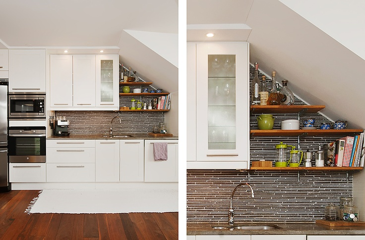 Shelves under sloped ceiling home modern kitchens for Kitchen ideas under stairs