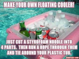 how to make your own floating cooler- lake house