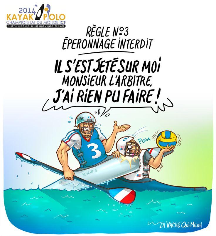 Règle n°3 - Eperonnage interdit Dessin pour annoncer les championnats du monde de Kayak Polo 2014 en Normandie