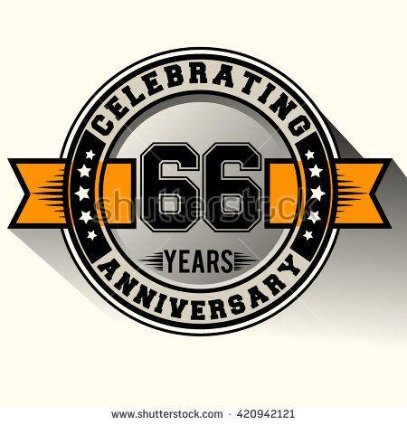 Celebrating 66th anniversary logo, 66 years anniversary sign with ribbon, retro design. - stock vector