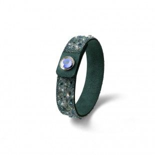 Oliver Weber Women green small disco bracelet glitter alcantara with Swarovski Crystals