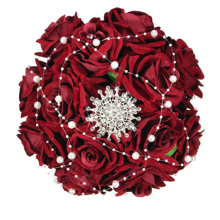 Bride Handmade Crystal Pearls Silk Satin Bouquet Brooch Rose Flower Wedding Party Decoration Cheap - NewChic