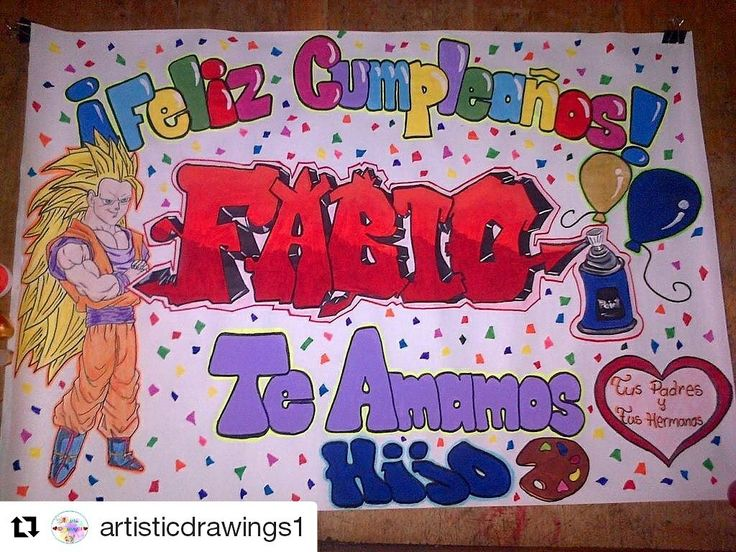 Pancarta de cumpleaños! Para un súper saiyayin  Contacto whatsapp 0414-9758612