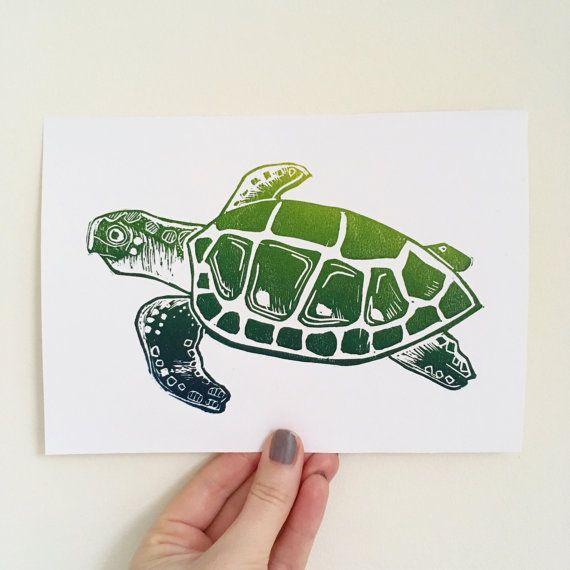 Green Turtle Lino Print Sea Turtle Print Ombre By