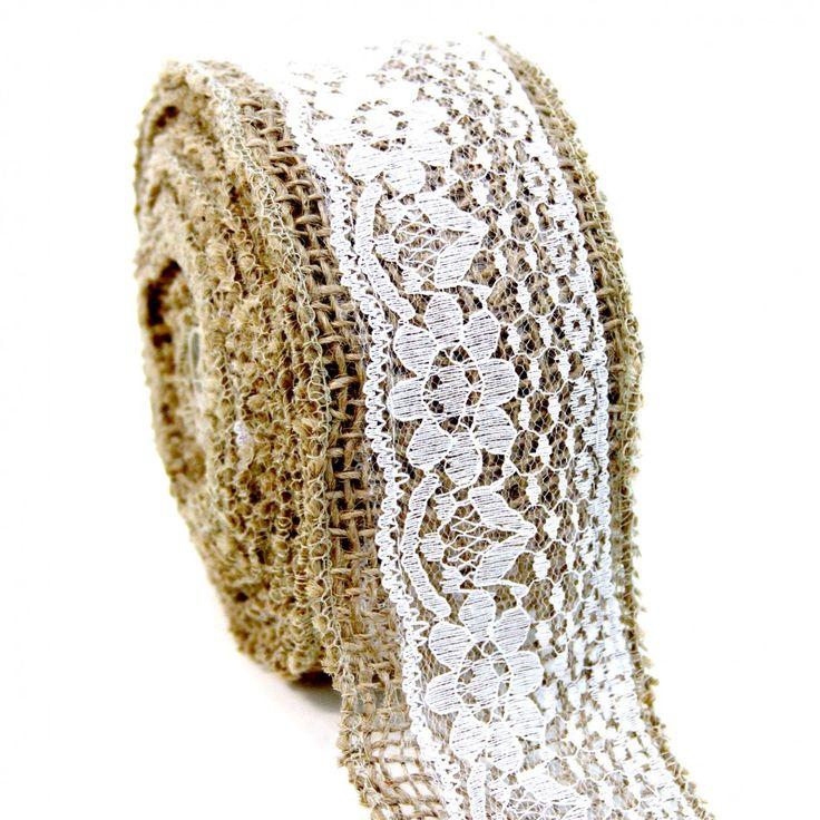 Rustic Lace Burlap Ribbon [SK53560 Lace Burlap Ribbon] : Wholesale Wedding Supplies, Discount Wedding Favors, Party Favors, and Bulk Event Supplies