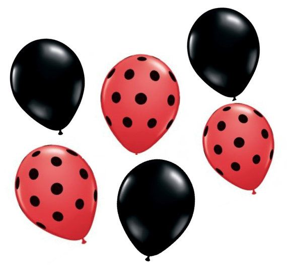 Ladybug birthday balloons, miraculous birthday balloons, little lady party supplies, black and red balloons, pre school party, 1st 2nd by evescrafts