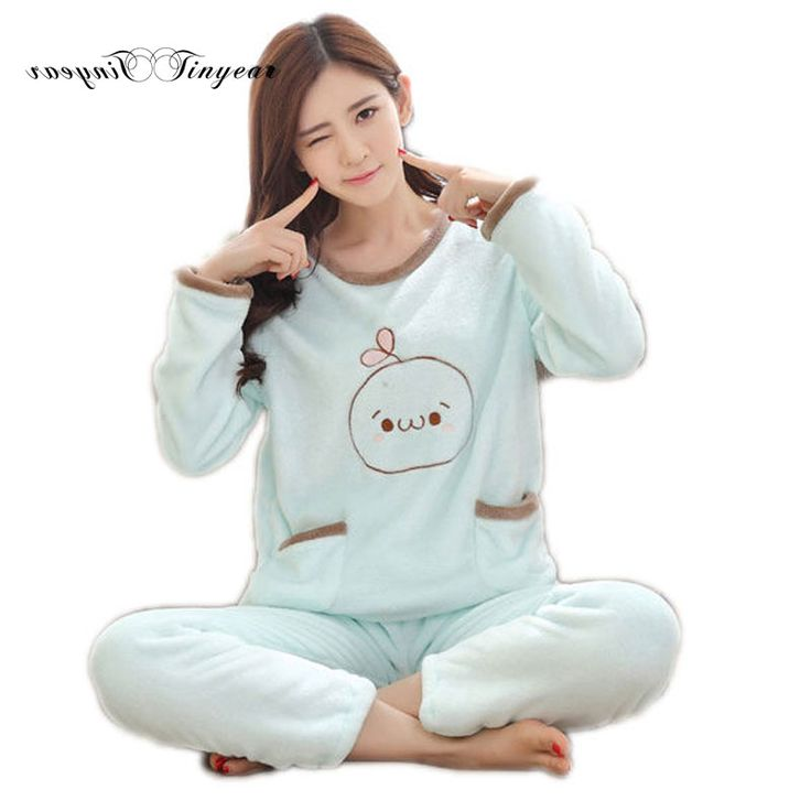 New family pajama set character full sleeve round neck pajamas suit plus size women night suit 2 colors optional #Affiliate
