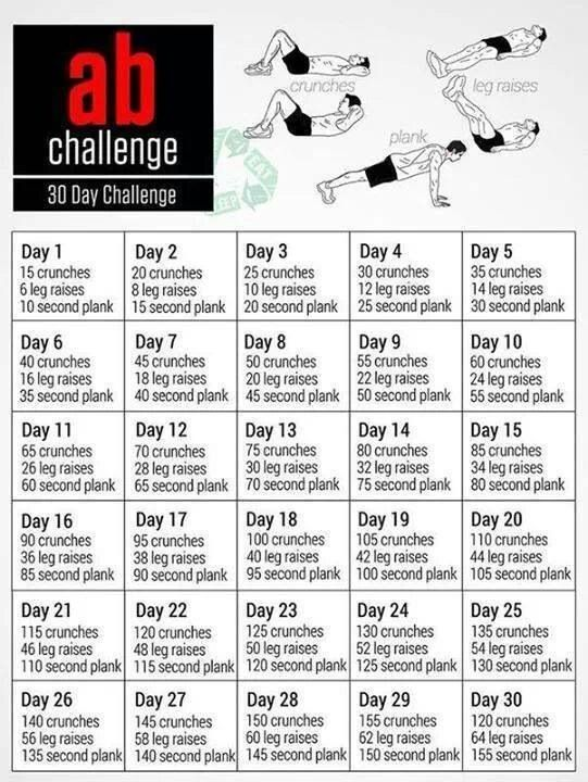 30 Day Ab Challenge Workouts Pinterest 30 Day 30
