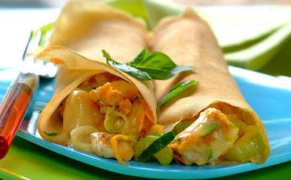 Creamy chicken-filled pancakes