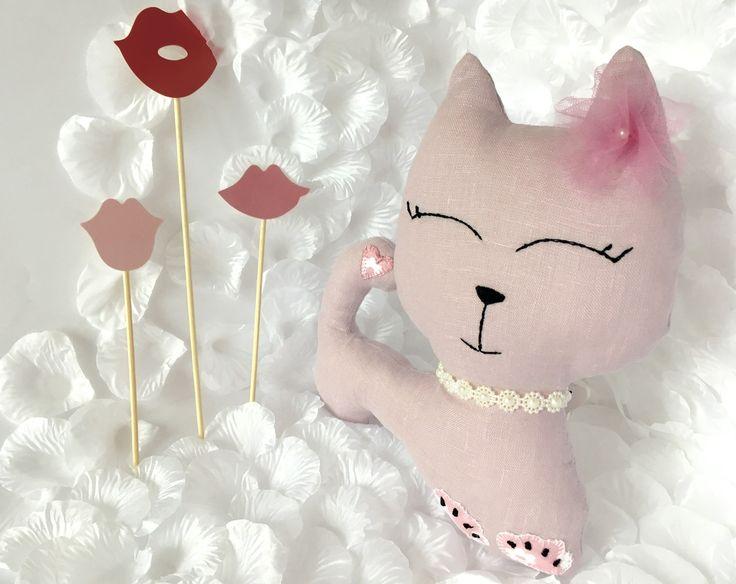 Handmade Pale pink linen Cat wth pearl collar