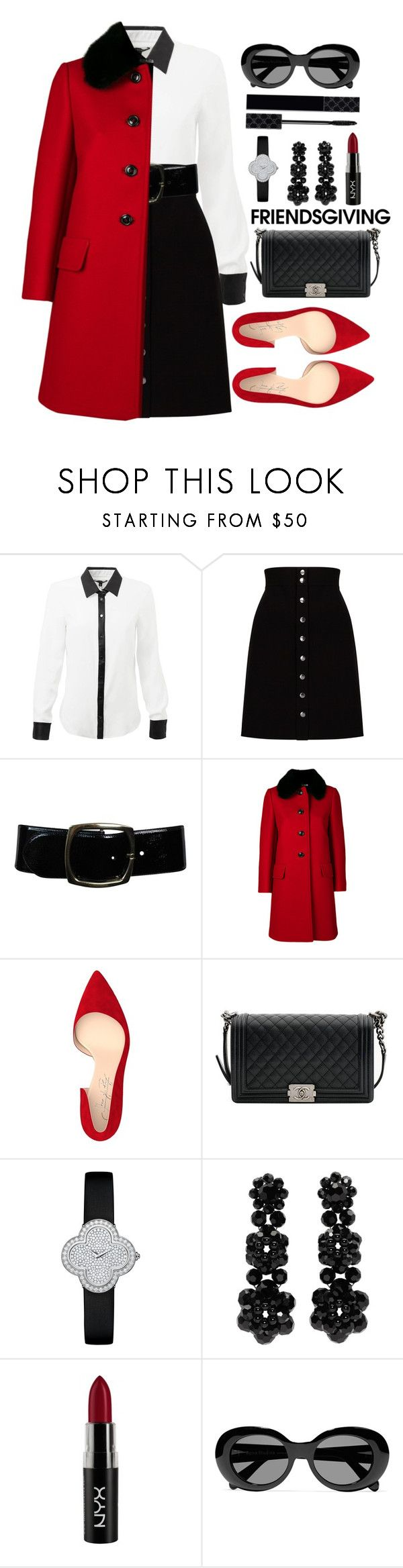 """""""Untitled #92"""" by berrylu ❤ liked on Polyvore featuring Phase Eight, Chanel, Miu Miu, Shoes of Prey, Van Cleef & Arpels, Simone Rocha, NYX, Acne Studios and Gucci"""