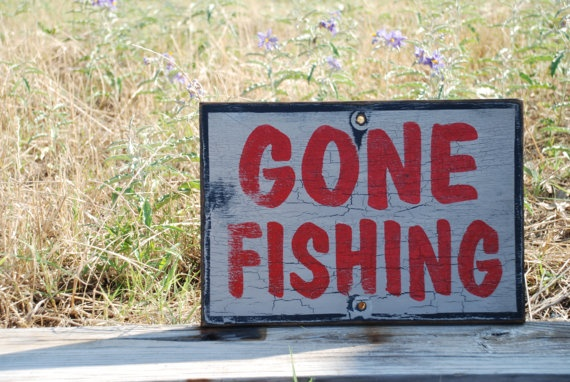 Gone fishing sign made from reclaimed plywood by KingstonCreations