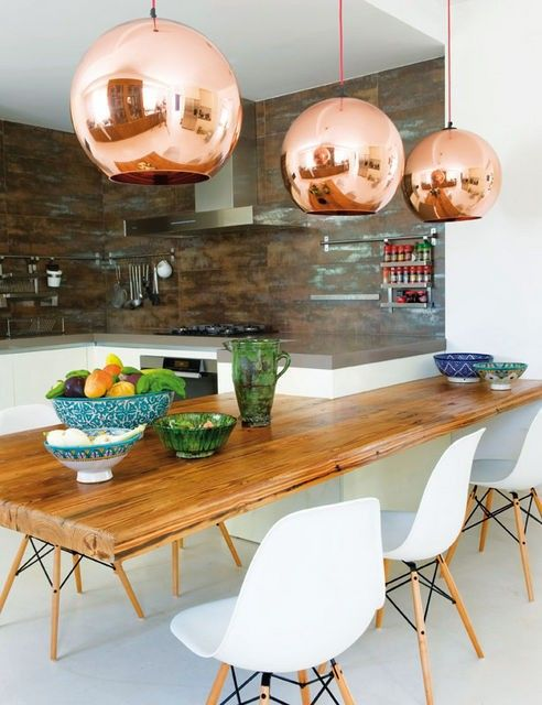 Copper.: Dining Rooms, Lamps, Lights Fixtures, Chairs, Kitchens Tables, Copper Pendants, Pendants Lights, Toms Dixon, Dining Tables