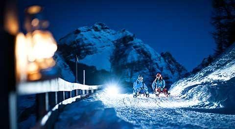 Rodeln in der Skireise im Stubaital