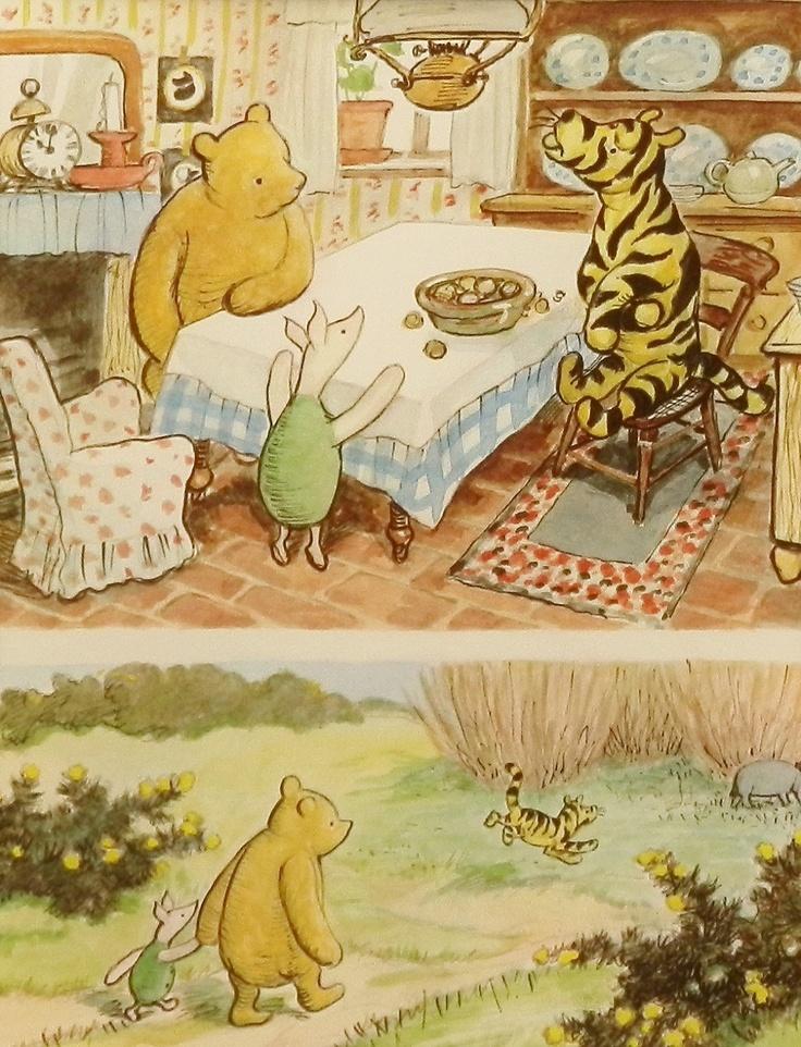 Nursery wall decor boy classic pooh nursery print baby for Classic pooh mural