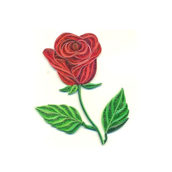 Quilled Rose Love Card by Acnolee on Etsy