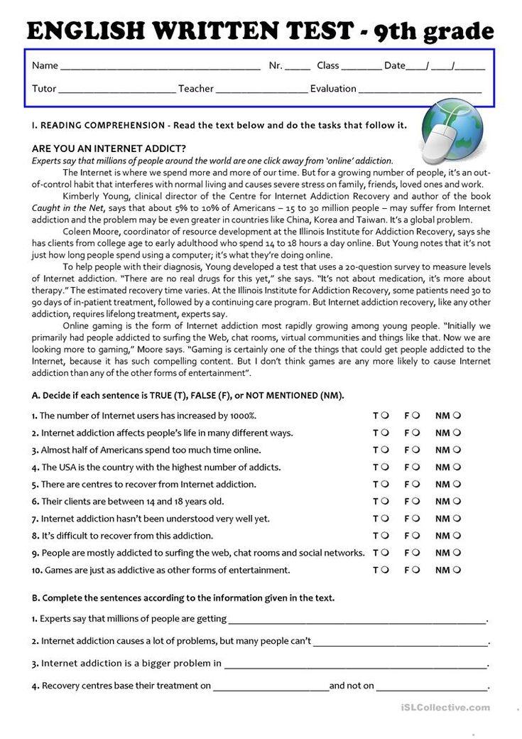 The Internet Test 9th grade   A2/B1   English ESL ...