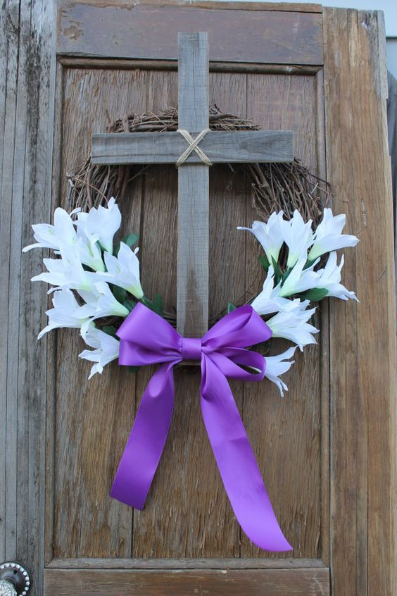 #Easter #Wreath, #Cross Wreath, Easter Decor, Easter Lilly Wreath, #Christian … Via: https://www.etsy.com/listing/270166755/easter-wreath-cross-wreath-easter-decor?ref=cat_gallery_23&ga_ref=unav_listing&ga_search_type=all&ga_view_type=gallery