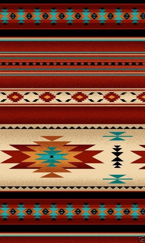 NATIVE AMERICAN INDIAN BLANKET FABRIC BRICK RED by the 1/2 yard 30 available