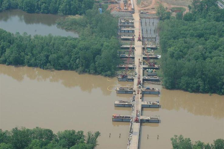 Image result for river construction work bridge