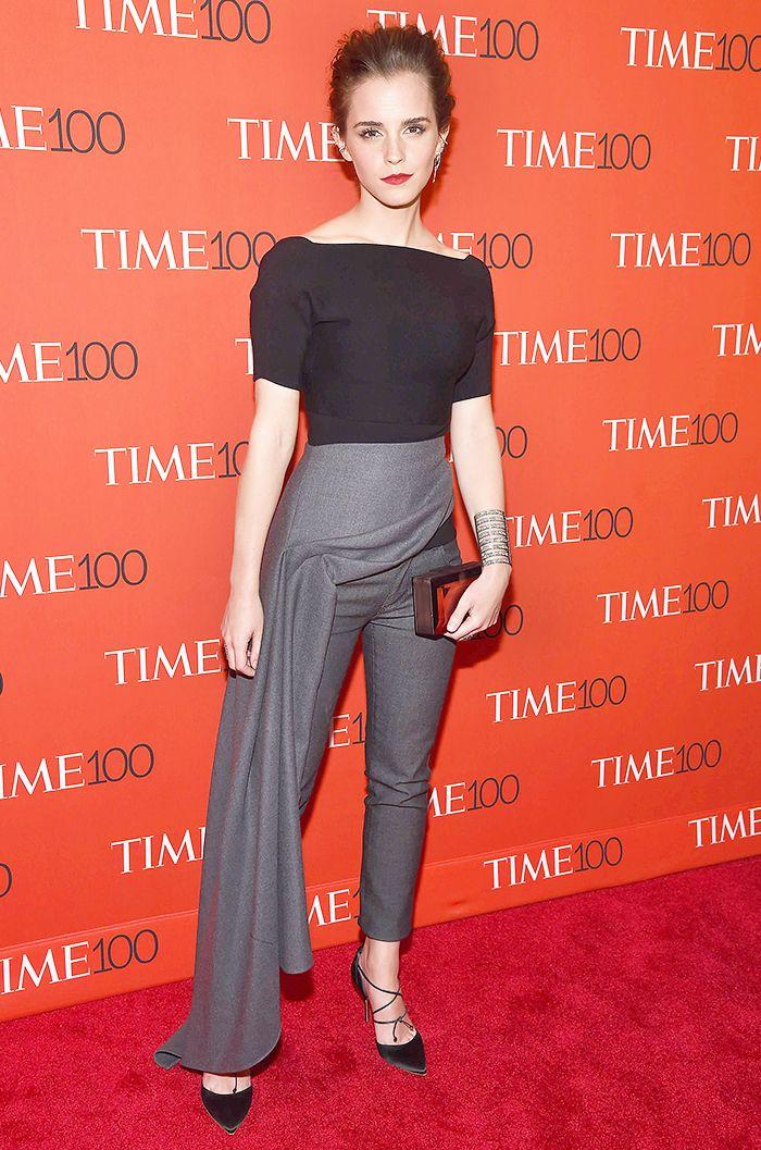 Emma Watson wearing wrap pants on the red carpet