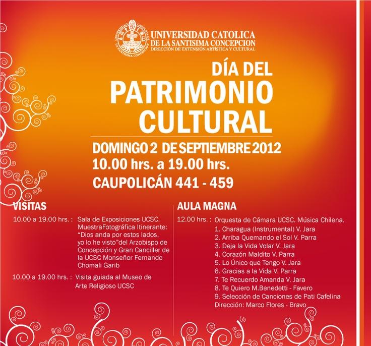 DÍA DEL PATRIMONIO CULTURAL DOMINGO 2 DE SEPTIEMBRE DESDE LAS 10.00 HRS. ENTRADA LIBERADA.