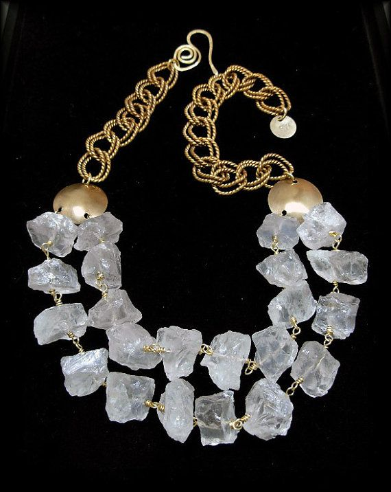 ON THE ROCKS - 2 Strand Chunky Natural Rock Quartz Nuggets Necklace
