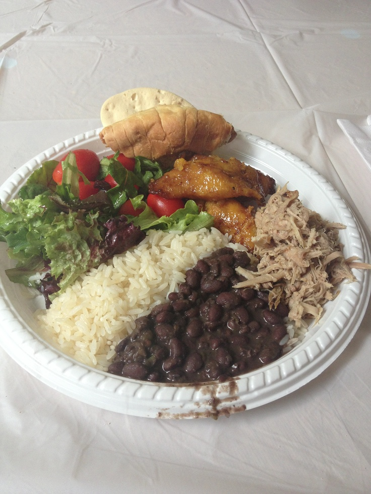 Cuban food: black beans and rice, plantains and pulled pork....I love Cuban food!!!