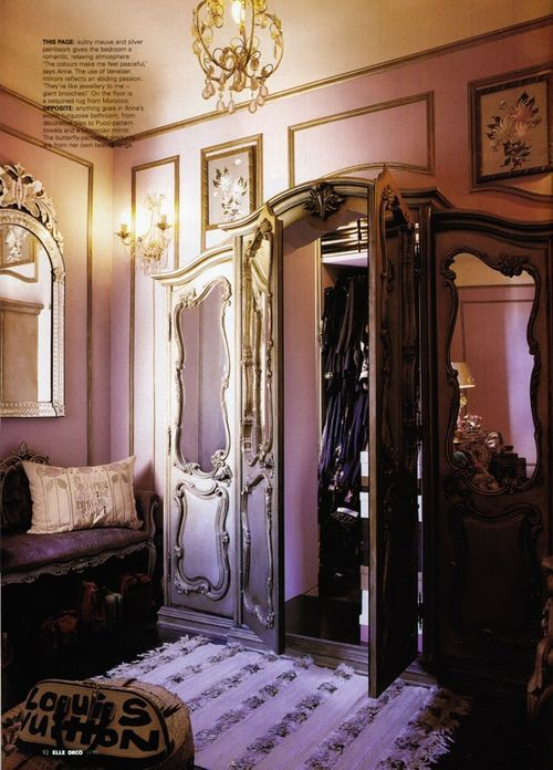 Anna Sui's The Lion, the Witch and the Wardrobe walk-in closet. Put an armoire (with door way in back) in front of the closet or another room!