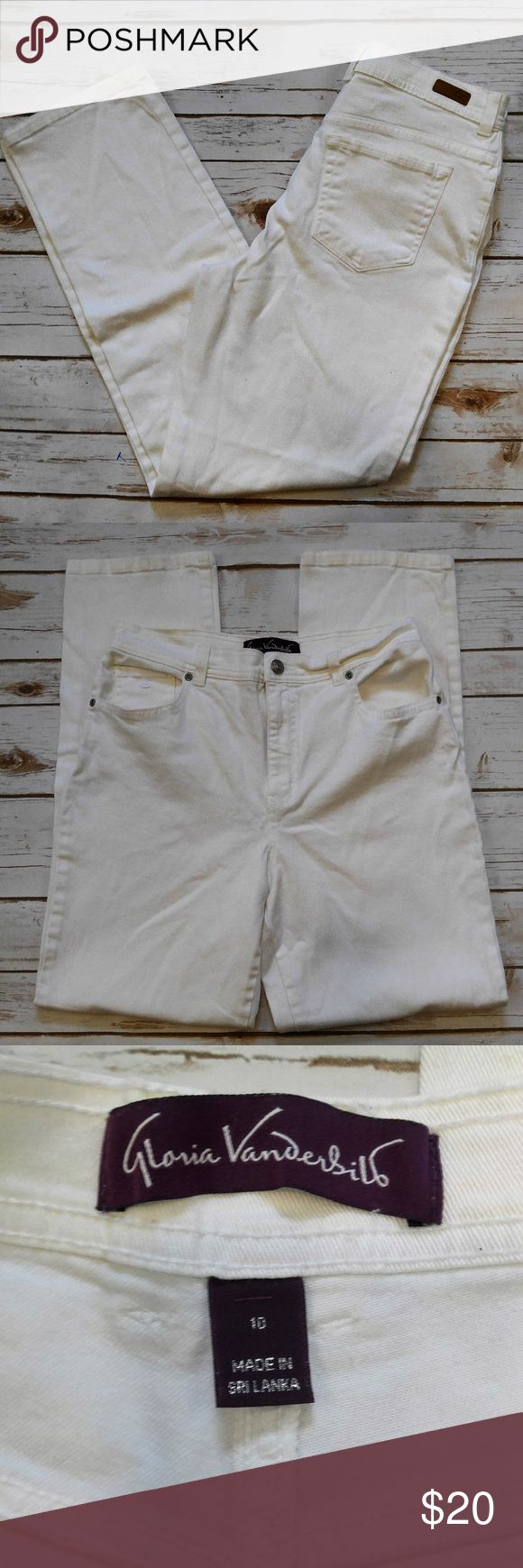 Gloria Vanderbilt White Straight Cut Jeans Gloria Vanderbilt White Straight Cut Jeans Size 10 in excellent used condition. Please feel free to ask any questions or bundle with other listings in my closet for a custom discount on your order. I ship the same day as long as the order is placed before 11:00 AM Central time. If you would like to be notified about price drops remember to 'like' the item to bookmark it! Thank you for checking out my closet and happy poshing!! Gloria Vanderbilt…