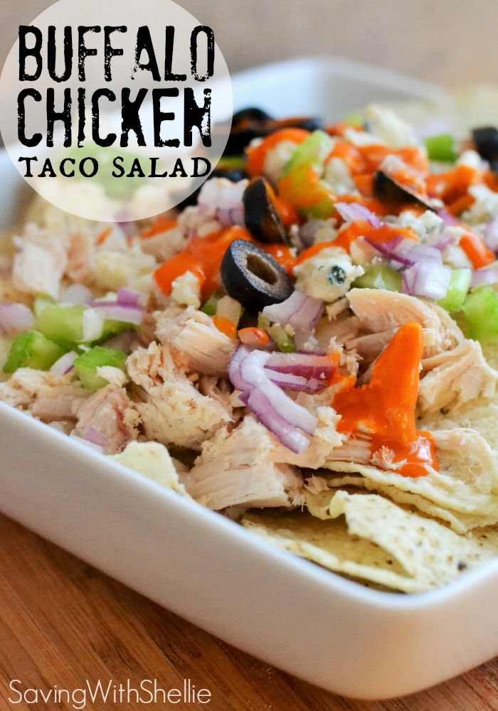 Easy lunch idea: Buffalo Chicken Taco Salad. This is a yummy way to use up leftover chicken.