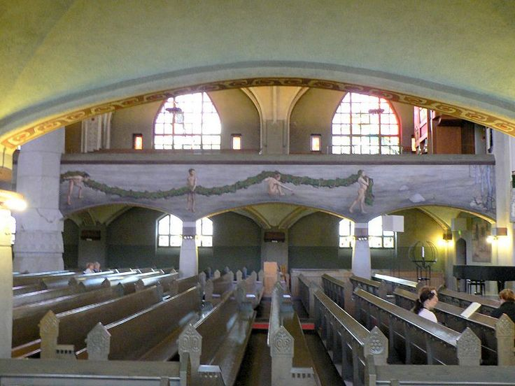 Interior of Tampere Cathedral in Tampere, Finland, fresco: Hugo Simberg