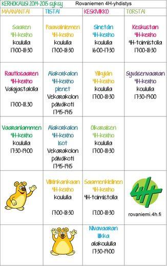 Kerhokalenteri - Rovaniemen4 H-yhdistys