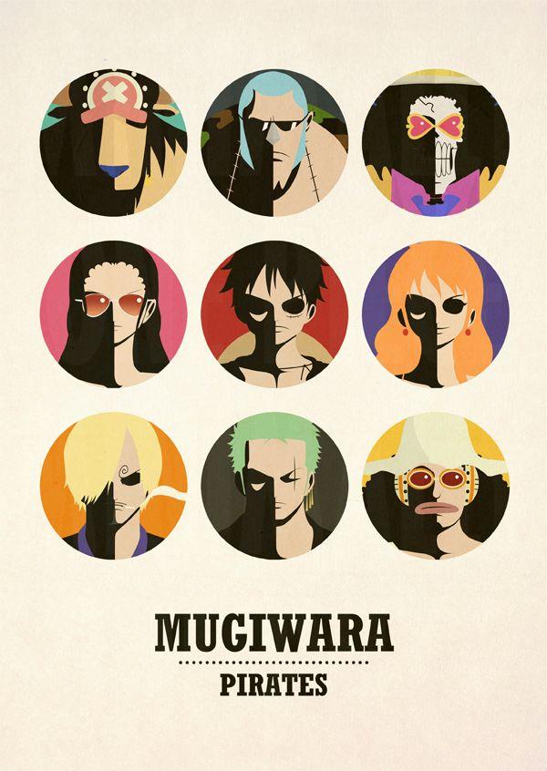 One Piece Minimalist Poster: Mugiwara Pirates v2 by MinimallyOnePiece.deviantart.com on @deviantART