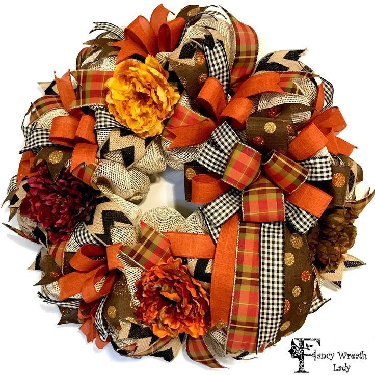 Fall Burlap Mesh Wreath, Autumn Burlap Wreath, Thanksgiving Harvest Wreath, Fall Front Door Wreath, Everyday Wreath, Ready to Ship by FancyWreathLady on Etsy https://www.etsy.com/listing/475347970/fall-burlap-mesh-wreath-autumn-burlap