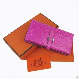 Hermes Bearn crocodile leather long purse peach red
