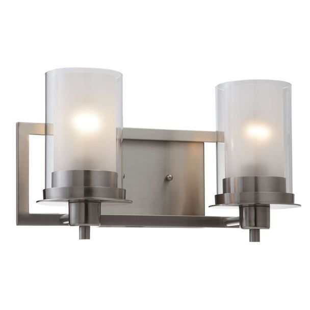 Juno Satin Nickel 2 Light Wall Sconce Bathroom Fixture 73469