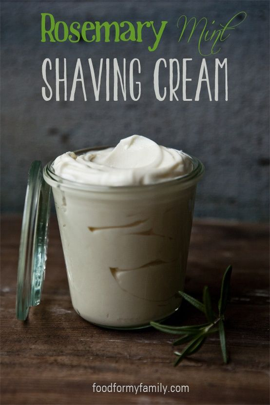 This shaving cream recipe is really really good! 1/3 cup shea butter  1/3 cup virgin coconut oil  1/4 cup jojoba or sweet almond oil  10 drops rosemary essential oil  3-5 drops peppermint essential oil