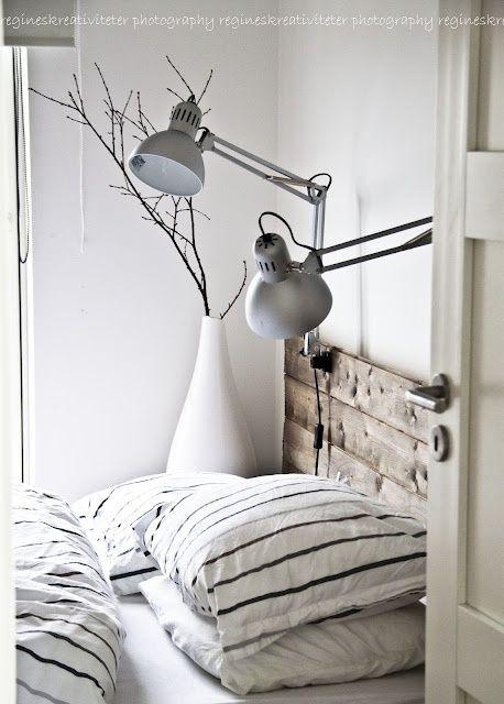 Wooden headboard simple bedroom