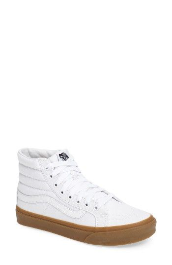 Free shipping and returns on Vans Sk-8 Hi Slim Light Gum Sneaker (Women) at Nordstrom.com. A contrast, gum-colored rubber sole underscores the vintage appeal of a classic, high-top canvas sneaker in a slimmed-down profile.