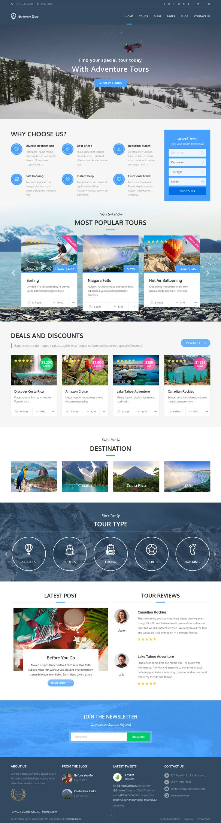 Adventure Tours is a WordPress theme developed for #travel agencies and tour operators of any size. It offers a lot of flexibility and possibilities in setting up tours. #templates