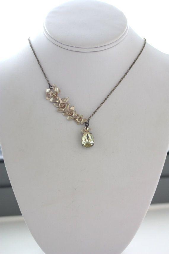 A Cascading Orchid Flower Yellow Jonquil Glass Jewel by Marolsha, $28.50