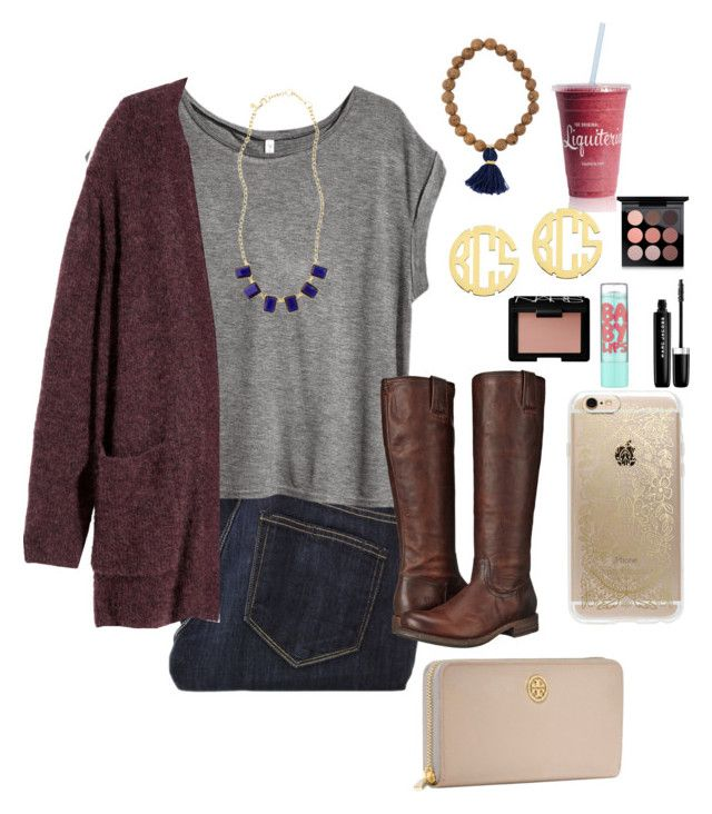 """""""fancy⚓️"""" by morganmestan ❤ liked on Polyvore featuring Paige Denim, H&M, Brooks Brothers, Frye, QVC, Tory Burch, Rifle Paper Co, MAC Cosmetics, Marc Jacobs and Maybelline"""