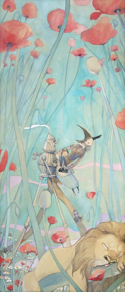"""Deadly Poppy Forest"" - Patrick Awa, 10 x 23 inches,  Watercolor on Rives paper.  Part of the Wizard of Oz tribute art show, ""Not in Kansas Anymore"" at Gallery Nucleus."