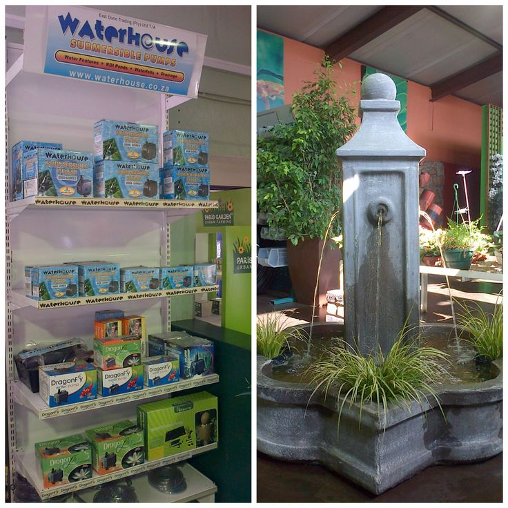 The beautiful Waterhouse display at Eckards Garden Pavillion.   Purchase your fountain pumps today!