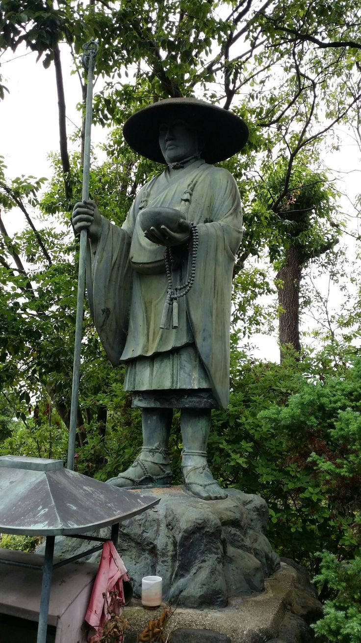 This is Kobo Daishi (774-835) a famous Buddhist monk, scholar, poet and artist. After his death followers set up a 1200 kms pilgrimage on the Island of Shikoku in his honour. The Omuro 88 temple pilgrimage is a mini version finally set up in the mid 1800's.
