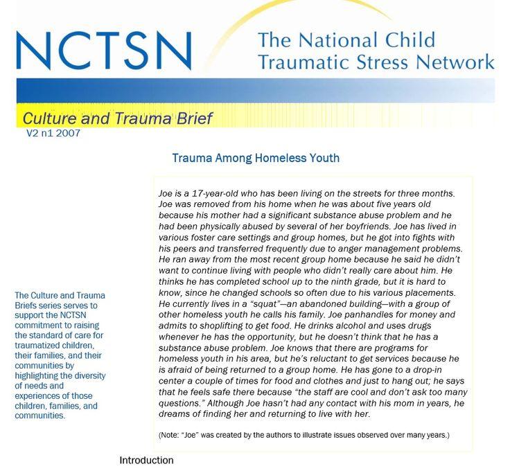 Culture and Trauma Brief -Trauma Among Homeless Youth