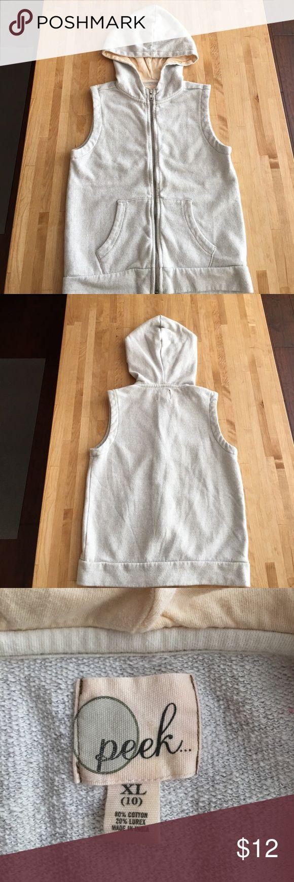 Silver Peek Zip Up Vest Metallic silver Zip Up vest with hood. Great condition! Peek Jackets & Coats